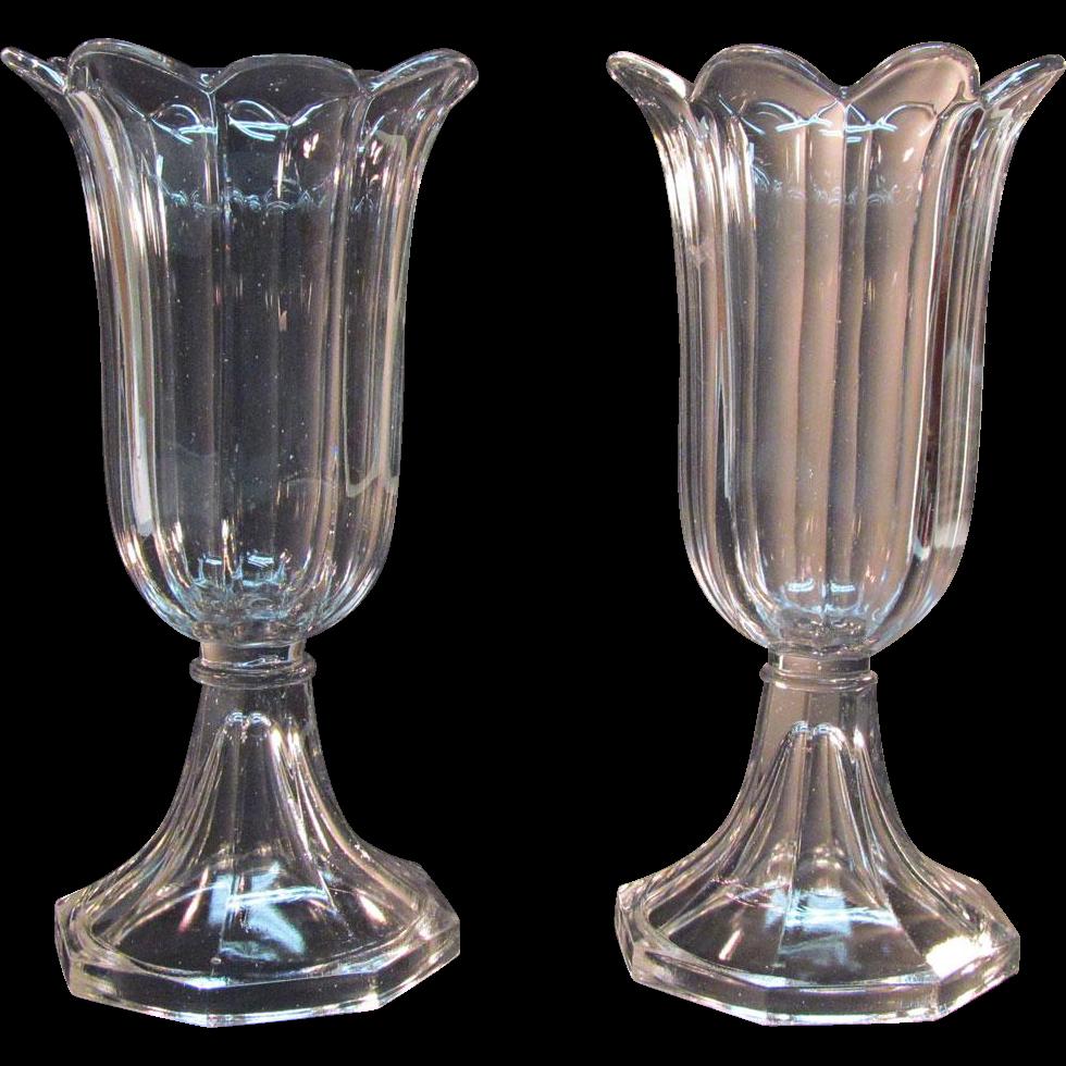 Pair Clear Flint Sandwich Glass Vases ca. 1850-60