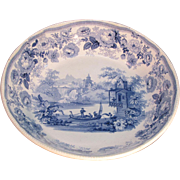 Large Blue Staffordshire Transfer Bowl ca. 1830