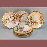 Set of Six Hand Painted Limoges Dessert Plates ca. 1906