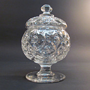 "Flint Glass ""Four Petal"" Covered Sugar Bowl"