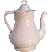 White Ironstone Coffee Pot ca. 1878