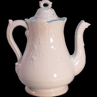 White Ironstone Coffee Pot ca. 1878