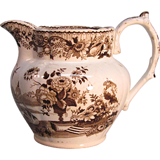 Staffordshire Brown Transfer Pitcher ca. 1840