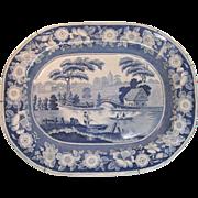 "Large Blue ""Wild Rose"" Staffordshire Platter ca. 1840"