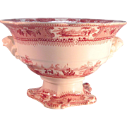 Large Staffordshire Red Transfer Compote