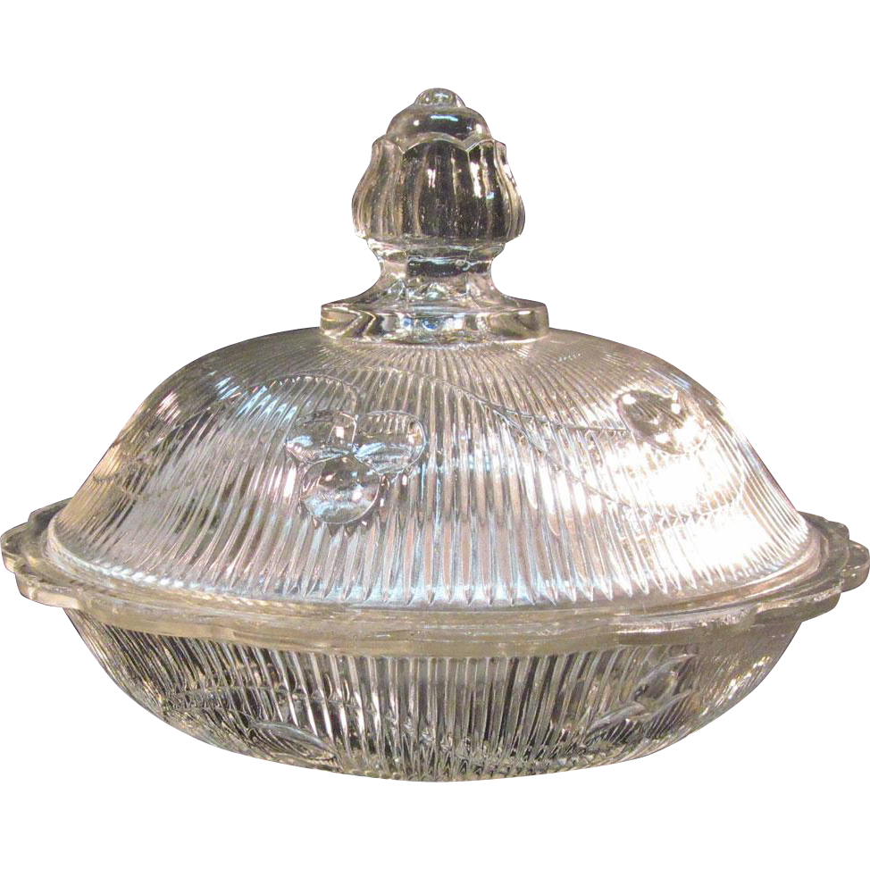 Bellflower Flint Covered Butter Dish ca. 1860