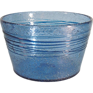 Threaded Bowl in Bubbly Blue Glass