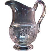 Lily of the Valley Pattern Glass Milk Pitcher ca 1875