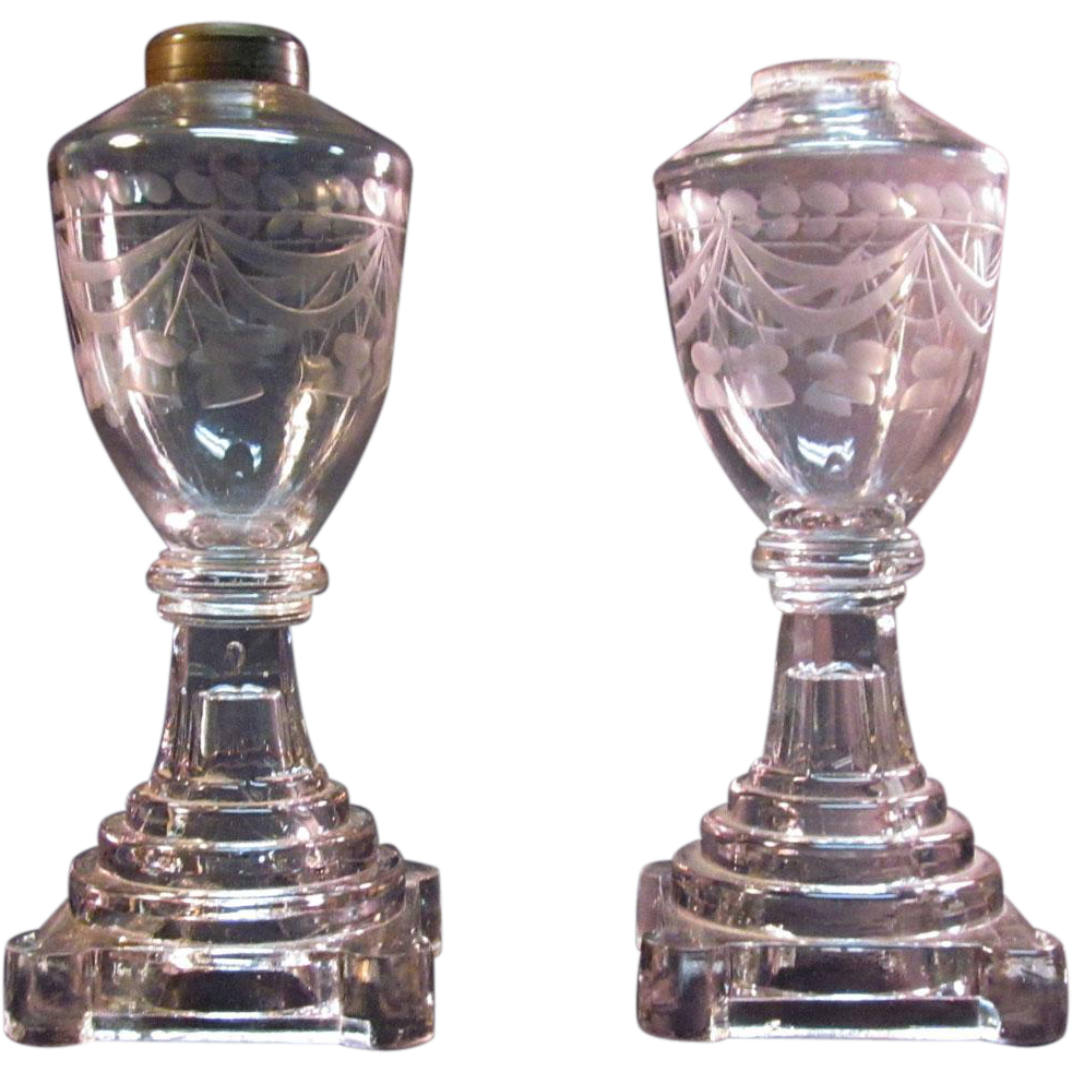Pair Whale Oil Lamps with Blown and Engraved Fonts ca 1840