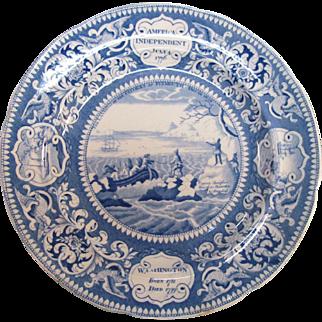 Landing of the Pilgrims Historical Staffordshire Plate ca. 1830