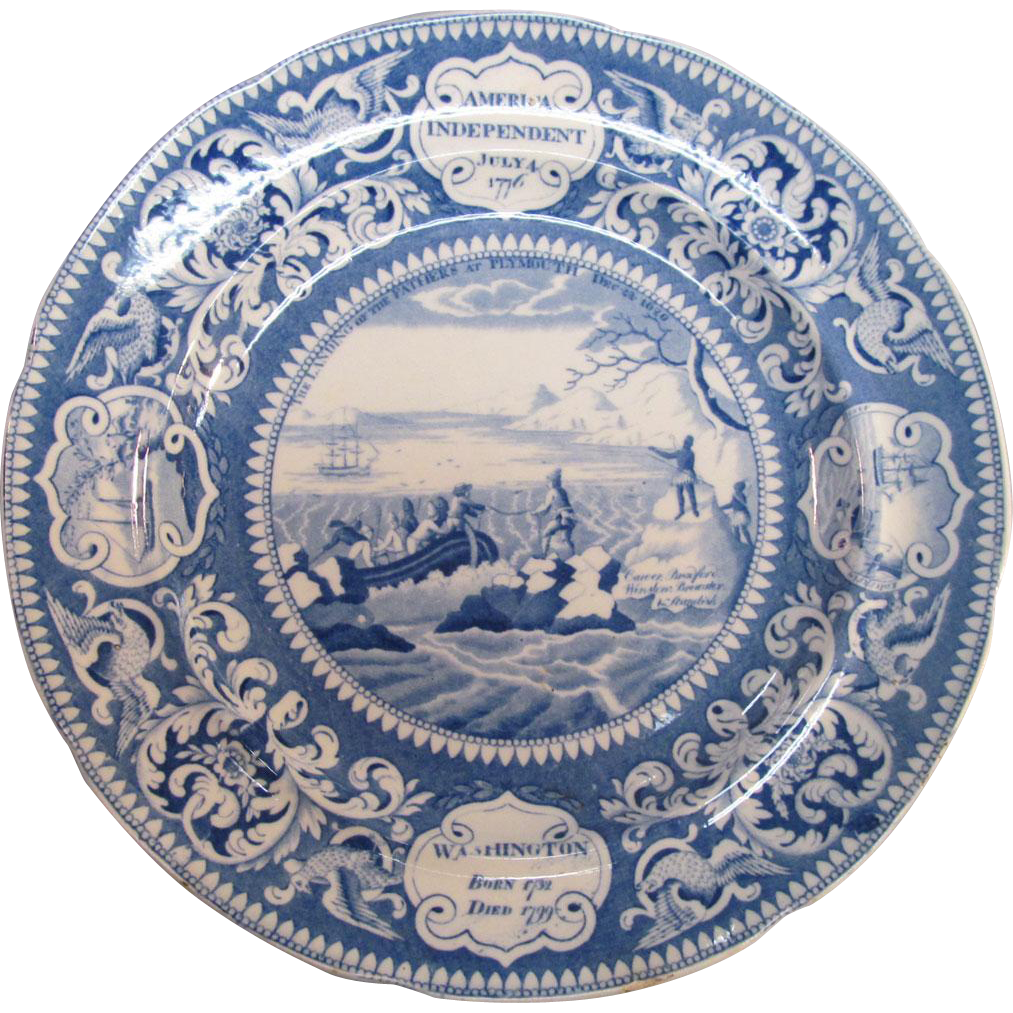 Landing of the Pilgrims Historical Staffordshire Plate ca. 1830