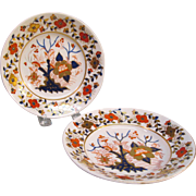 "Pair Small Derby ""Japan Tree"" Dishes 1810-20"