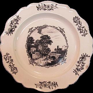 Creamware Plate with Black Transfer ca. 1795