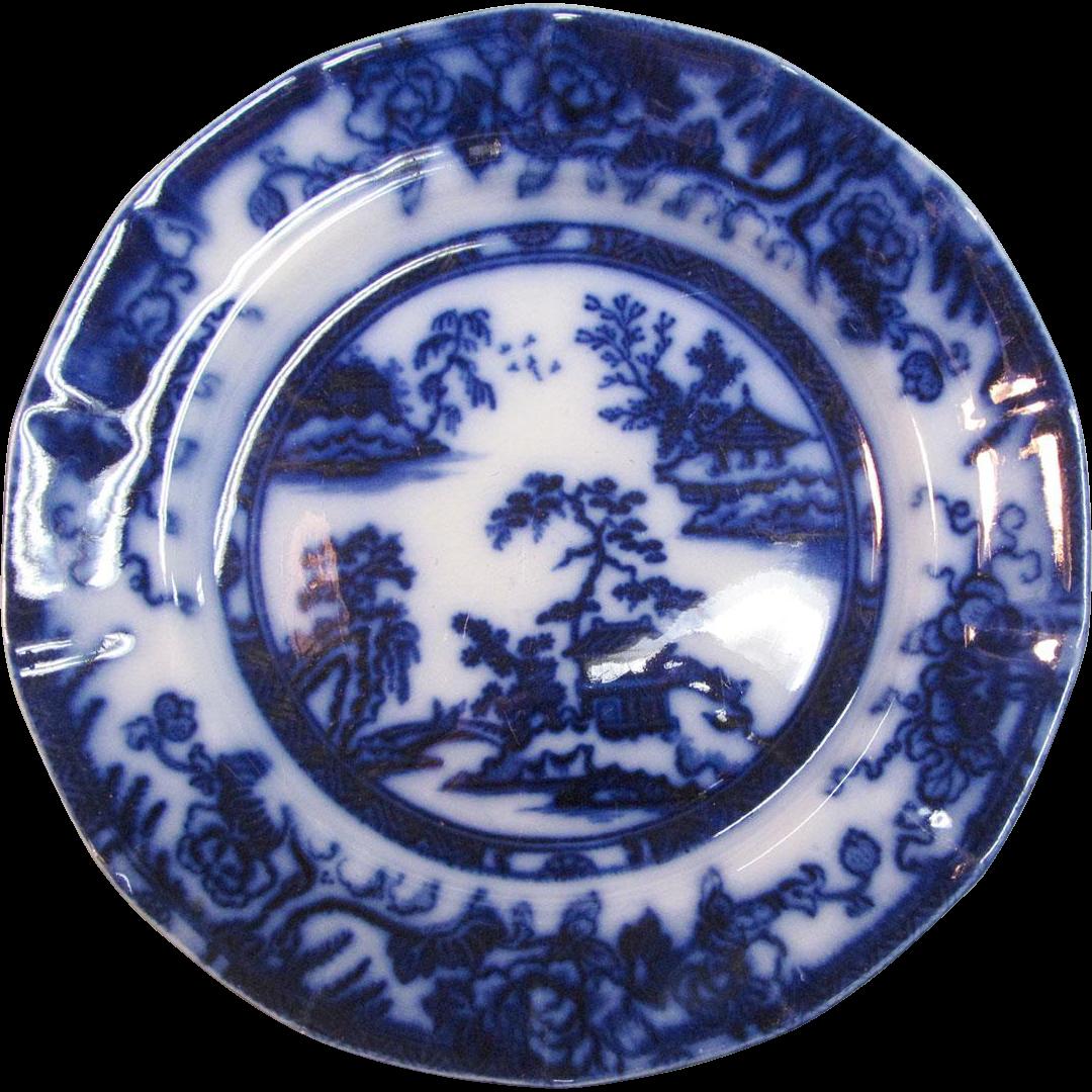 Hong kong pattern flow blue plate from forthillstudios on