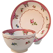 New Hall Tea Bowl and Saucer ca. 1795