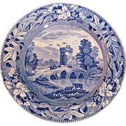 "Spode Blue and White ""Bridge of Lucano"" Soup Plate ca. 1820"