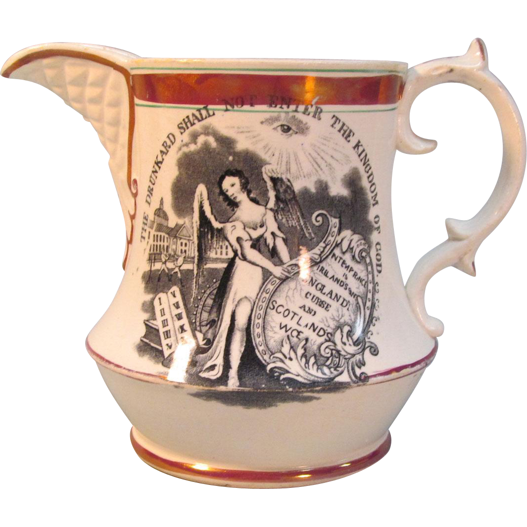 Transfer and Luster Temperance Motif Pitcher ca. 1835-40