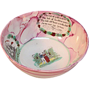 "Pink  Luster ""Sailor's Farewell"" Punch Bowl ca. 1840"