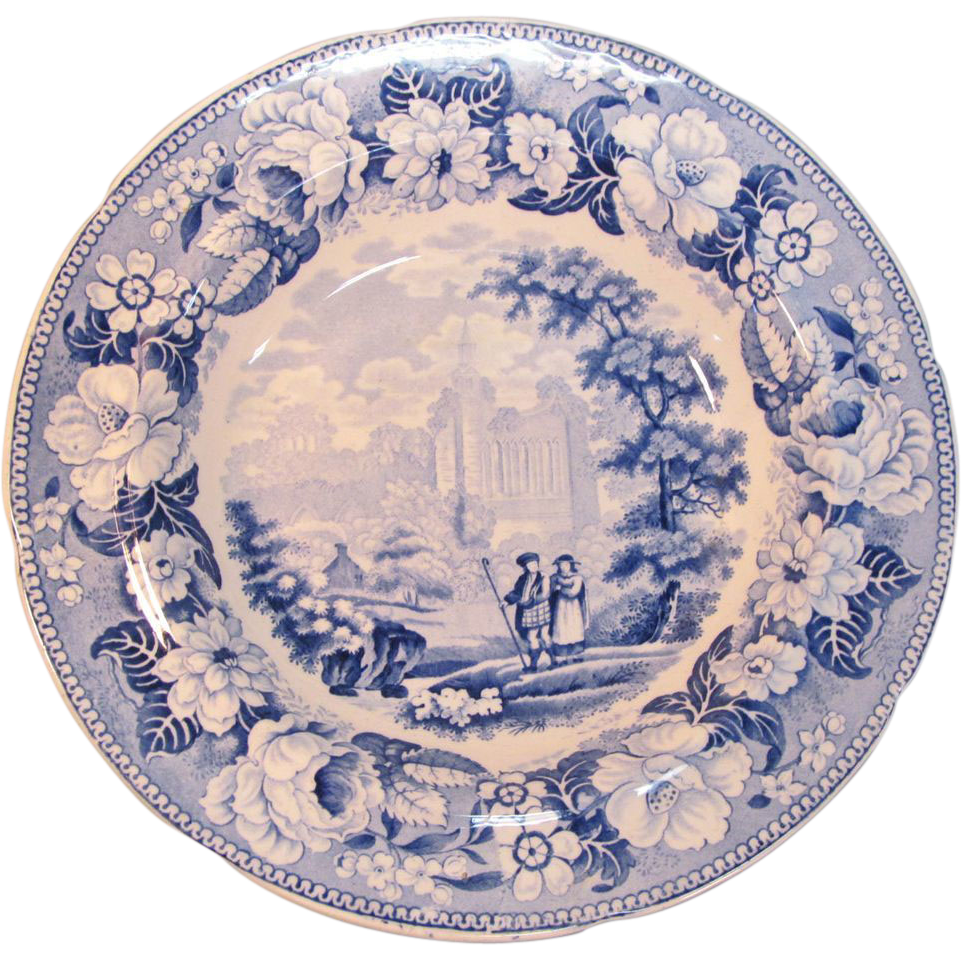 "Staffordshire Soup Plate ""Byland Abbey"" ca 1835"