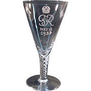 Coronation Commemorative George IV Crystal Goblet 1937