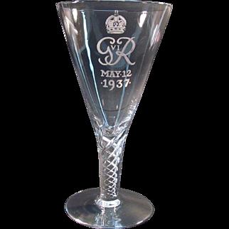 Coronation Commemorative George IV Crystal Goblet 1937