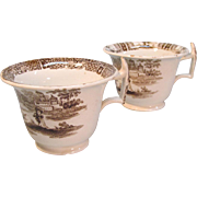 Pair  Brown Staffordshire Transfer Ware  Cups 1835-40