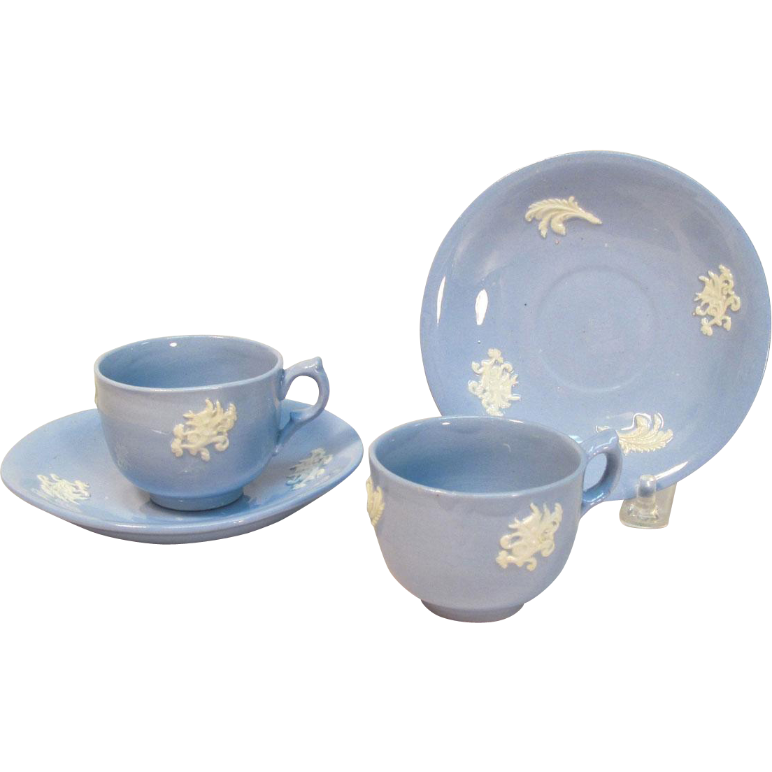 Pair Sprigged Toy Cups and Saucers