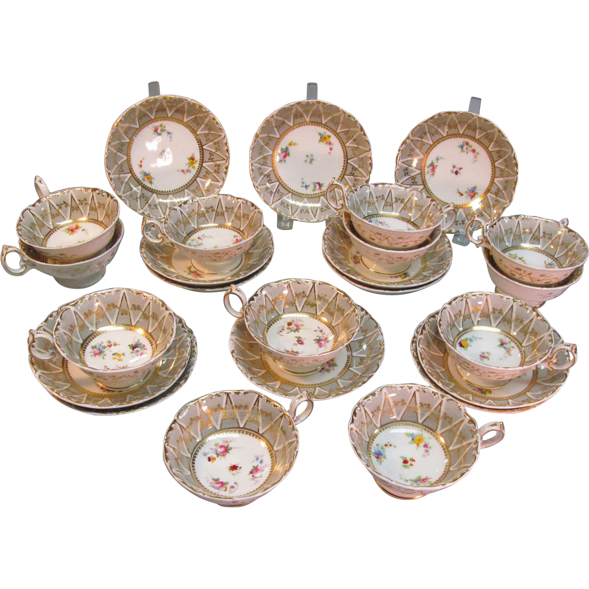 Set of 12 English Porcelain Cups/Saucers ca. 1835