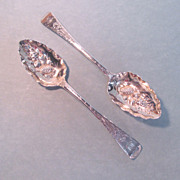 Pair English Sterling Repousse Berry Spoons ca. 1802