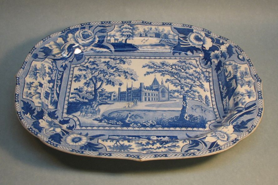 "Staffordshire Blue and White Platter ""Angus Seats"""