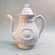 "White Ironstone Coffee Pot ""Laurel Wreath"""