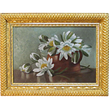 Victorian Oil Painting  of Magnolias in Gilt Frame