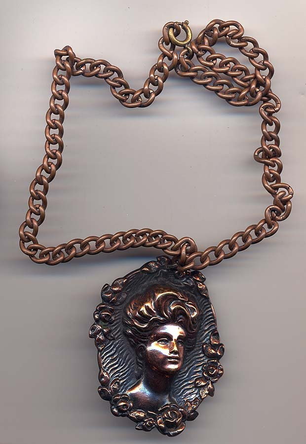 Edwardian Stamped Copper Cameo Necklace