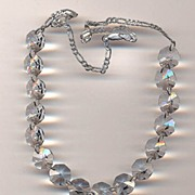 Signed Italian Az Sterling and Faceted Crystal Necklace