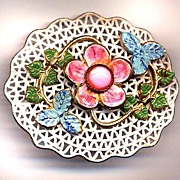 1930's Enamel and Pink Faux Moonstone Pin