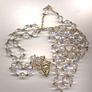 "33 1/2"" Vintage Faceted Crystal Rosary"