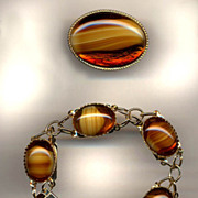Whiskey Art Glass Bracelet And Pin