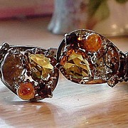 Autumn Colored Rhinestone and Art Glass Clamper Bracelet & Earrings