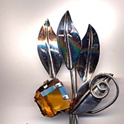 Large Sterling Silver And Topaz Glass Flower Pin