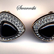 Swarovski Black Enamel and Rhinestone Earrings Mint condition
