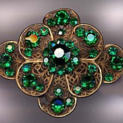 Large Austrian Ornate Gold Base Metal Pin With Emerald Rhinestones