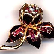 Signed Coro Maroon Enamel & Red Rhinestone Quivering Camellia Fur Clip