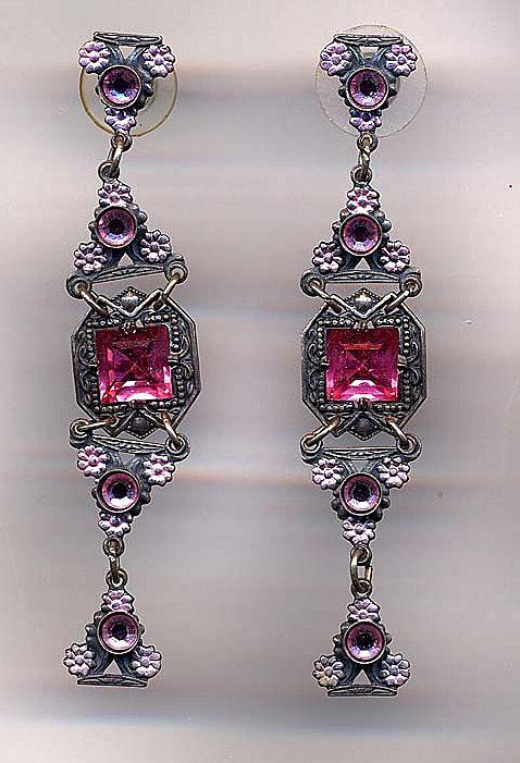 Vintage Pink Rhinestone and Enamel Dangle Earrings