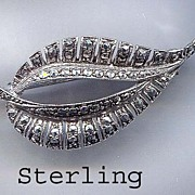 Sterling and Marcasite Leaf Pin