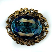 Huge Signed Bomae Faceted Blue Glass Filigree Pin