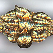 Large Gold Washed Brass Multi Leaf Pin