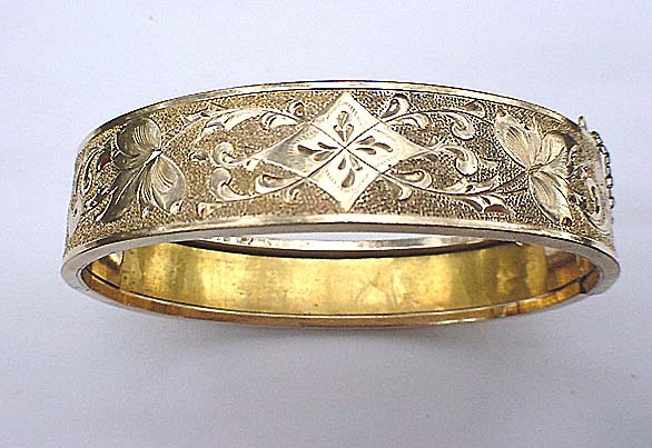 Signed Pat.Date 1872 Etched Gold metal Bracelet