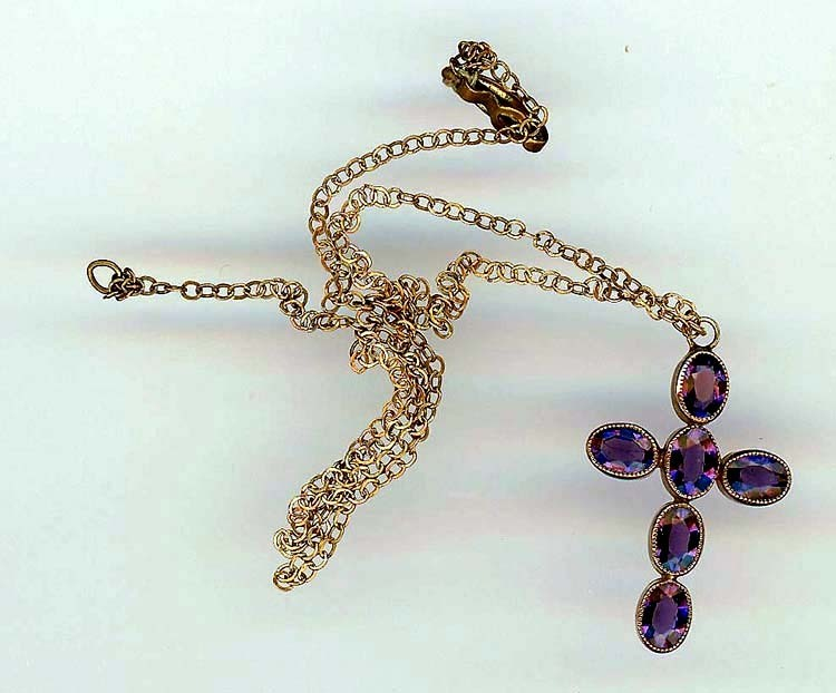 Edwardian Brass and Amethyst Cross Necklace