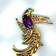 Art Deco Large Amethyst Rhinestone Bird Pin