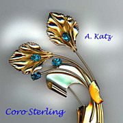4' Coro Sterling and Blue Rhinestone Flower Pin